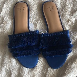 a new day blue slip on sandals